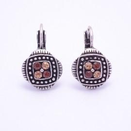 Boucles d'oreilles émaillées Dormeuse Strass petites et légères BFDSC010-marron