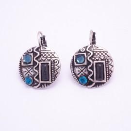 Boucles d'oreilles émaillées Dormeuse Strass petites et légères BFDSC011-bleu