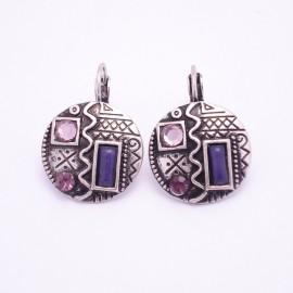 Boucles d'oreilles émaillées Dormeuse Strass petites et légères BFDSC011-violette