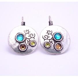 Boucles d'oreilles émaillées Dormeuse Strass petites et légères BFDSC012-multi
