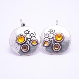 Boucles d'oreilles émaillées Dormeuse Strass petites et légères BFDSC012-marron
