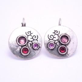 Boucles d'oreilles émaillées Dormeuse Strass petites et légères BFDSC012-violette