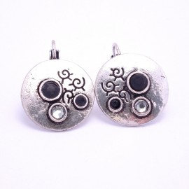 Boucles d'oreilles émaillées Dormeuse Strass petites et légères BFDSC012-noir