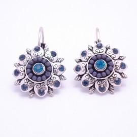 Boucles d'oreilles émaillées Dormeuse Strass petites et légères BFDSC015-bleu