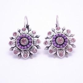Boucles d'oreilles émaillées Dormeuse Strass petites et légères BFDSC015-violette