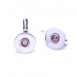 Boucles d'oreilles émaillées Dormeuse Strass petites et légères BFDSC004-marron