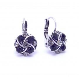 Boucles d'oreilles émaillées Dormeuse Strass petites et légères BFDSC020-noir