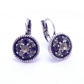 Boucles d'oreilles émaillées Dormeuse Strass petites et légères BFDSC019-noir