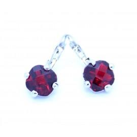 Boucles d'oreilles émaillées Dormeuse Strass petites et légères BFDSC024-rouge