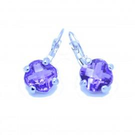 Boucles d'oreilles émaillées Dormeuse Strass petites et légères BFDSC024-violette
