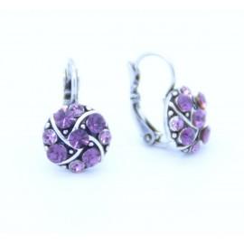 Boucles d'oreilles émaillées Dormeuse Strass petites et légères BFDSC020-violette