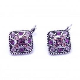 Boucles d'oreilles émaillées Dormeuse Strass petites et légères BFDSC023-violette