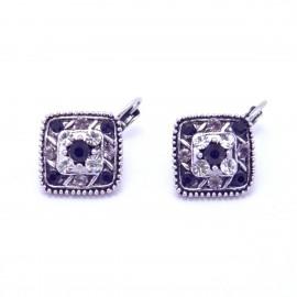 Boucles d'oreilles émaillées Dormeuse Strass petites et légères BFDSC023-noir