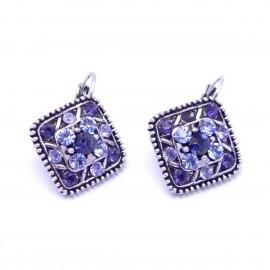 Boucles d'oreilles émaillées Dormeuse Strass petites et légères DSC023-bleu