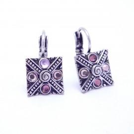 Boucles d'oreilles émaillées Dormeuse Strass petites et légères BFDSC022-violette