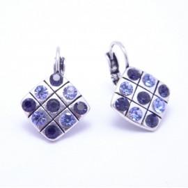 Boucles d'oreilles émaillées Dormeuse Strass petites et légères BFDSC021-bleu
