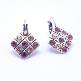Boucles d'oreilles émaillées Dormeuse Strass petites et légères BFDSC021-marron