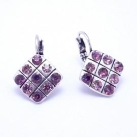 Boucles d'oreilles émaillées Dormeuse Strass petites et légères BFDSC021-violette