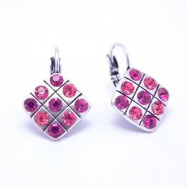 Boucles d'oreilles émaillées Dormeuse Strass petites et légères BFDSC021-rouge