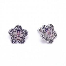 Boucles Emaillées BFCEC002-Gris LOL Bijoux